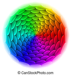 Circle with roof tile pattern in spectrum. - Illustration of...