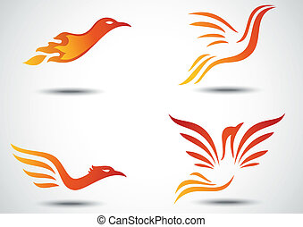 Phoenix bird icon collection set - Vector illustration of...