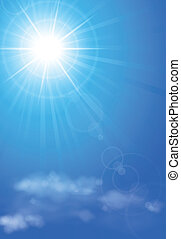 Bright sun in blue sky - Vector illustration of bright sun...