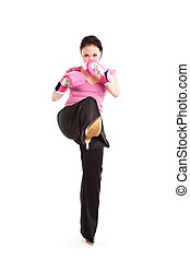 Kicking businesswoman with boxing gloves - A businesswoman...