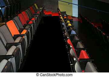 Theater Seats - Rows of theater seats and aisles between
