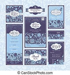 set of floral wedding cards - Set of floral wedding cards....