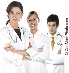 friendly young doctors smiling over a white background -...