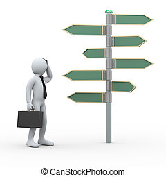 3d confuse man in front of roadsign - 3d illustration of man...