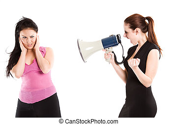 Angry businesswoman shouting - An angry businesswoman...