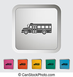 School bus flat icon. Vector illustration.
