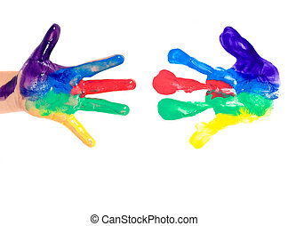 Painted hands - brightly painted hand and print