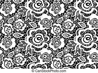 vintage lace guipure seamless pattern with abstract flowers...