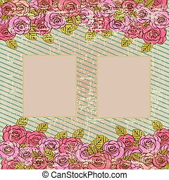 picture frame over floral background vector illustration