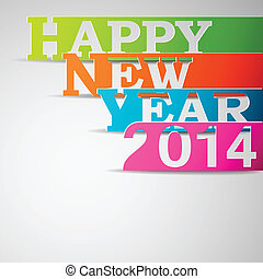 Happy new year 2014 paper strips eps10 vector illustration