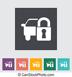 Locking car doors. Single flat icon. Vector illustration.
