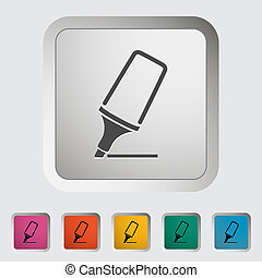 Marker. Single icon. Vector illustration..