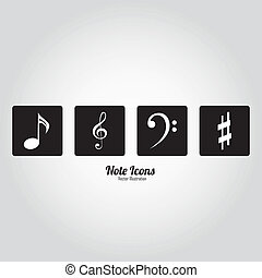 music notes on black squares on white background