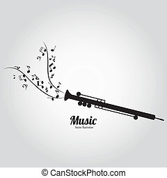 flute - abstract flute silhouette with abstract music notes...