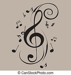 music notes - abstract music notes on gray background