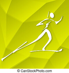 Biathlon Icon on Textured Yellow Background, Vector...
