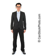 Confident full body Asian business man in formal full suit...