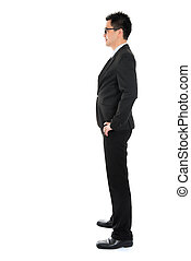 Side view full body Asian business man