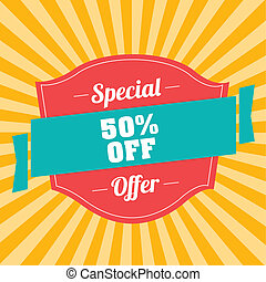 special offer - 50% off label special yellow lines...