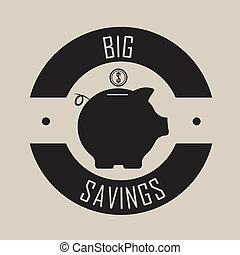 big savings label with a pig on light brown background