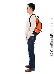 Side view full body Asian adult student
