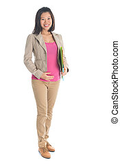 Pregnant Asian business woman portrait - Full body six...