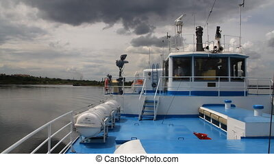Passenger ship on river - Passenger ship floating in river