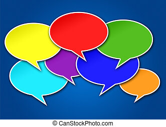 Colorful Chat Bubbles on Blue Background - Colorful chat...