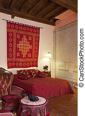 Bedroom in Tuscany style - Interior of Bedroom in Tuscany...
