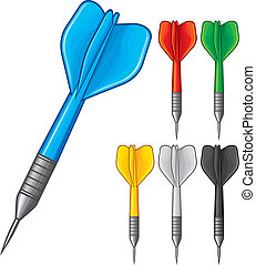 set of darts (darts in 6 colors, vector dart, collection of...