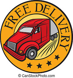 free delivery truck (Free delivery icon, emblem, design,...
