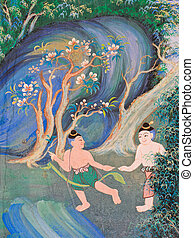 Thai mural painting - Native Thai mural painting on temple...
