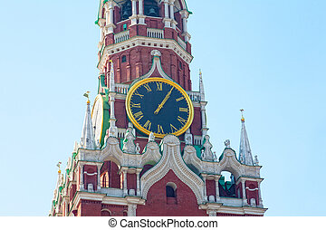 Chiming clock on the Spassky tower in the Moscow Kremlin, Russia