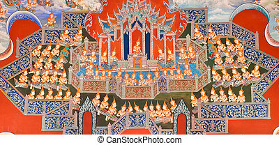 Thai mural painting - Traditional Thai mural painting of the...