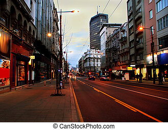 Evening Belgrade cityscape - Urban landscape of evening...