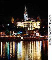 Night cityscape - night illuminated Belgrade from river with...