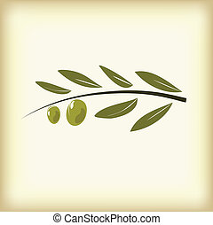 Olives on branch with leaves.