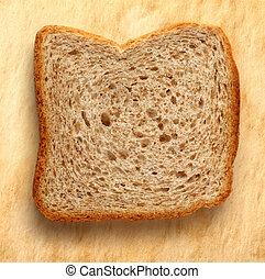 Bread slice on paper background - Bread slices on paper...