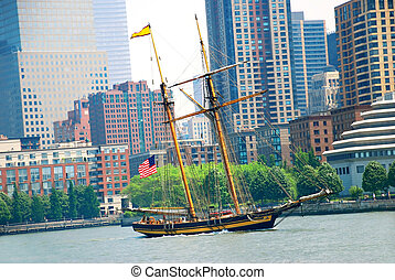 Sailing ship in New York - sailing ship over New York City...