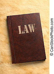 Law book on paper background