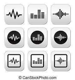 Soundwave music vector buttons set - Vector grey square...