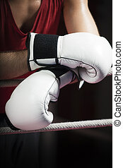 boxing - cropped view of boxer leaning on ropes Copy space