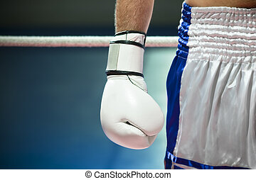 boxing - cropped view of man with boxing gloves Copy space