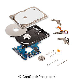 Explode view of hard drive