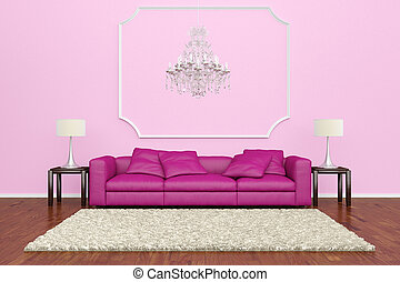 Pink sofa with chandelier