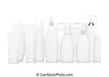 White cosmetic bottles on white background in two rows