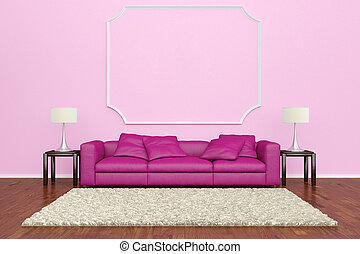 Pink sofa with wall decoration and brown carpet on wooden...