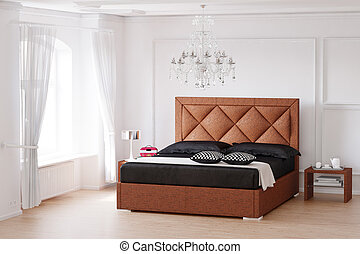 Sleeping room with brown bed and chandelier