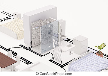 Topview of construction plan with furnitures