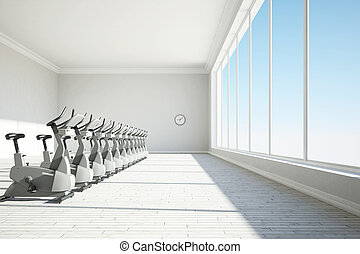 Gym with big windows and clock concept